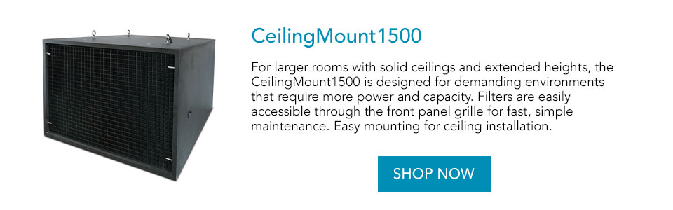 For larger rooms with solid ceilings and extended heights, the CeilingMount1500 is designed for demanding environments that require more power and capacity. Filters are easily accessible through the front panel grille for fast, simple maintenance. Easy mounting for ceiling installation.
